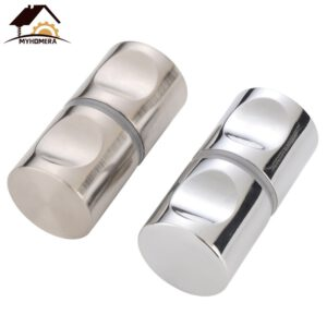 Myhomera Door Handle Glass Door Knob Fits 10-80mm Thick Door Puller Push Bathroom Shower Cabinet Handles Drawer Silver Brushed