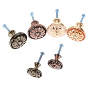 1set Alloy Furniture Cabinet Knobs Flower Handles Cupboard Drawer Wardrobe Kitchen Door Pull Antique Bronze Red Brass w/screw