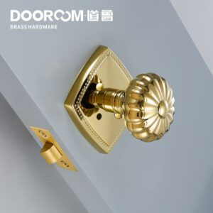 Dooroom Privacy Door Lock Set Shiny Gold PVD keyless Lock Knob Bathroom Bedroom Latch