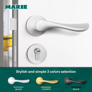 Marie Door Handle Lock Set For Interior Doors Modern Split Lock Cylinder With Keys Bedroom Bathroom Mute Door Handles Universal