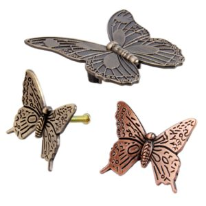 Butterfly Knob Antique Bronze Brass Furniture Handle Vintage Kitchen Handle Dresser Drawer Cabinet Pull Decorative 43mm/83mm