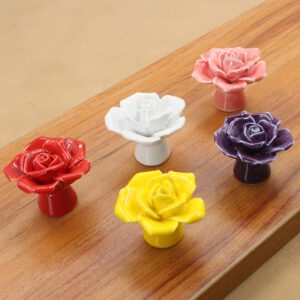 DIY Furniture Hardware Flower Handle Color Rose Style Drawer Cabinet Wardrobe Door Ceramic Pull Handle Decorative Knobs Home
