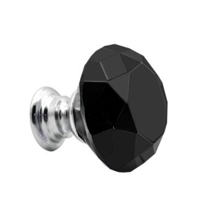 Black 10Pcs 30mm Crystal Glass Cabinet Knobs Diamond Shape Drawer Kitchen Cabinets Dresser Cupboard Wardrobe Pulls Handles