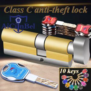 Door Cylinder 60 65 70 75 85 90MM Security Copper Lock Cylinder Interior Bedroom Living Handle Brass C Class Lock with 10 Keys