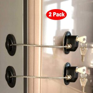 2 Pieces Refrigerator Door Lock Strong Adhesive Freezer Door Lock File Drawer Lock Child Safety Cupboard Lock with Key