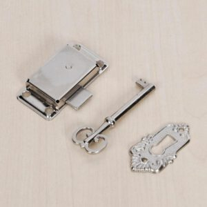 3pcs/set Classical Furniture Hardware Lock Decorative Wardrobe Cupboard Door Jewelry Box Lock Small Antique Metal Lock With Key