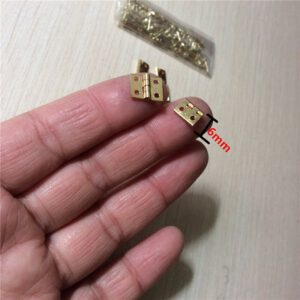 Brass Mini Hinge Decor Door Hinges Wooden Gift Jewelry Box Hinge Fittings for Furniture Hardware+Nail,10*8mm,10Pcs
