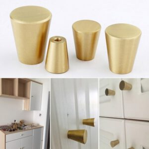 Brass Cabinet Door Handles Cone Simple European Chinese Drawer Cupboard Wardrobe Dresser Shoe Box Furniture Pulls Knobs