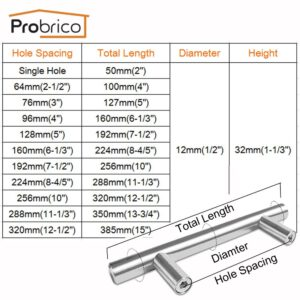 Probrico 10PCS Cabinet T Bar Handles Diameter 12mm Stainless Steel Furniture Drawer Knob 50mm~320mm Kitchen Cupboard Door Pulls