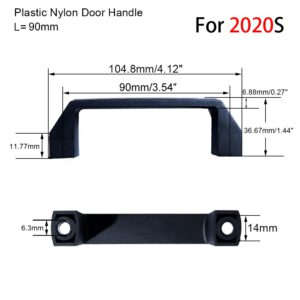 2pieces Plastic Nylon T Slot Black Door Handle for Aluminum Extrusion Profile 2020/3030/4040/4545 Sereis 90mm - 180mm