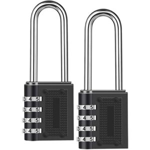 2PCS Heavy Duty Digit Combination Lock Weatherproof Security Padlock Outdoor Gym Safely Code Lock Black #jsw