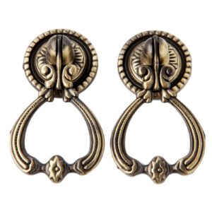 2sets Antique Brass Furniture Handles Vintage Cabinet Knobs Door Closet Cabinet Drawer Pull Knob Furniture Accessories w/screws