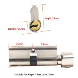 Anti-theft Door Lock Copper Locking Security Core 65mm-70mm Door Cylinder with Keys Door Lock Interior for Home Hardware