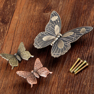 1set Butterfly Knob Antique Bronze Brass Furniture Handle Vintage Kitchen knobs Dresser Drawer Cabinet Pull Decorative 43mm/83mm